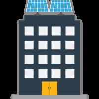 Solar panels on building
