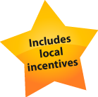 A badge showing that the Solar-Estimate calculator includes local incentives