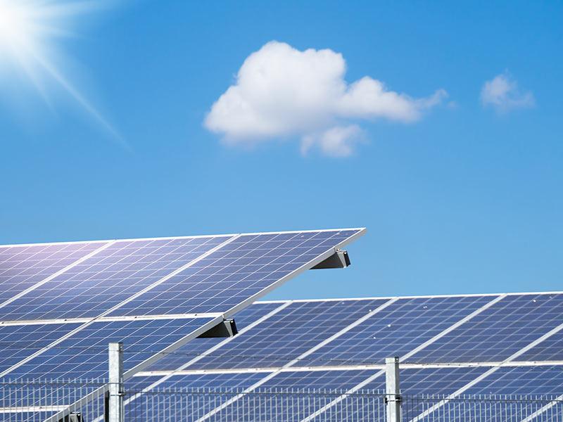 ground mounted solar panels close up