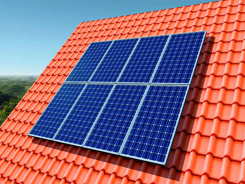 solar panels installed on red roof