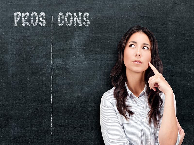 lady weighing up pros and cons