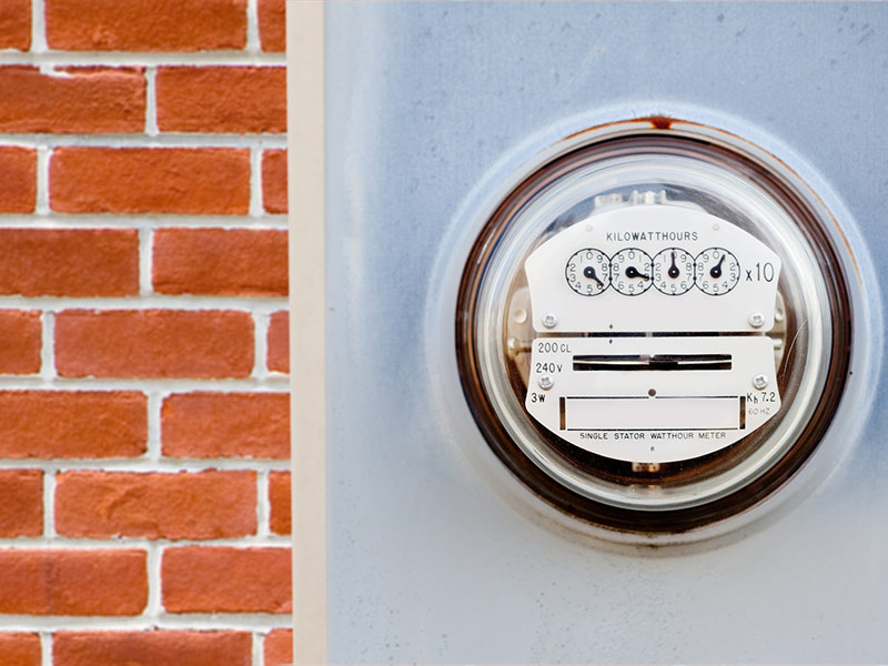 kilowatt meter on wall