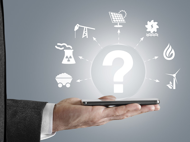 hand holding phone questioning alternative energy