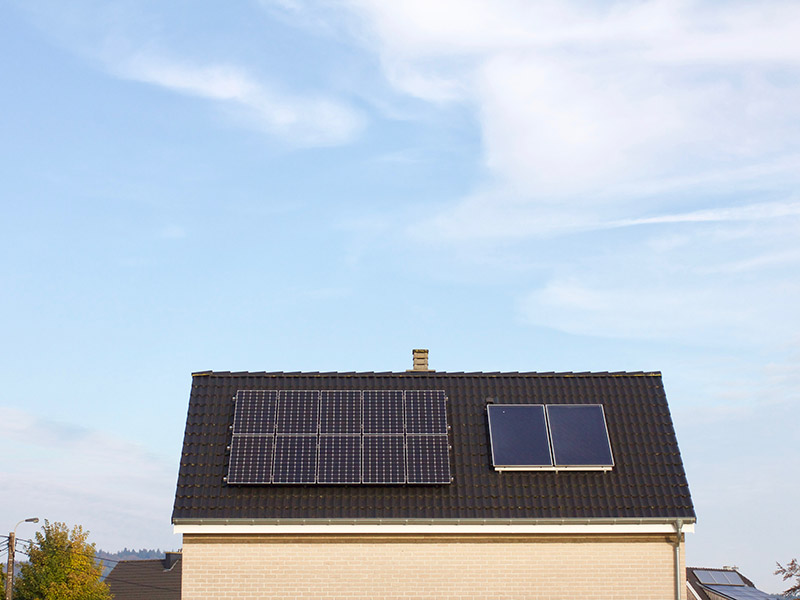 roof with solar power installed