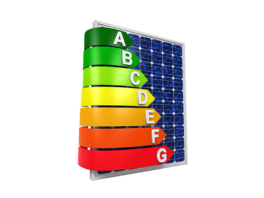 coloured letters surrounding a solar panel