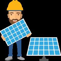 Solar installer holding solar panel
