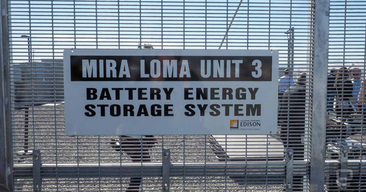 Tesla Powerpacks at the Mira Loma battery storage station in California