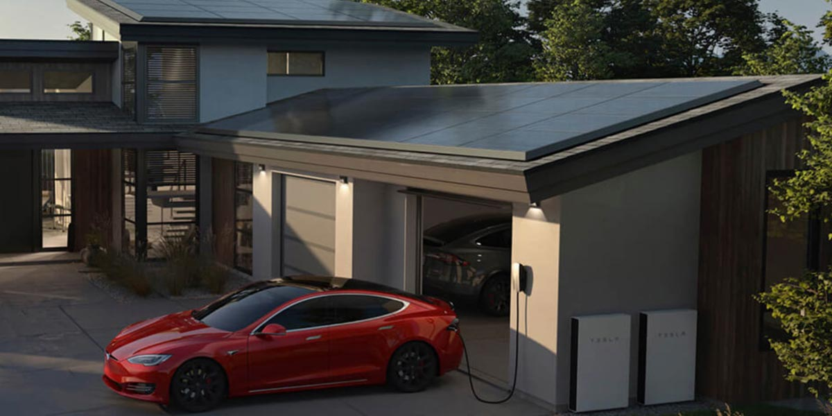Tesla solar panels on a roof