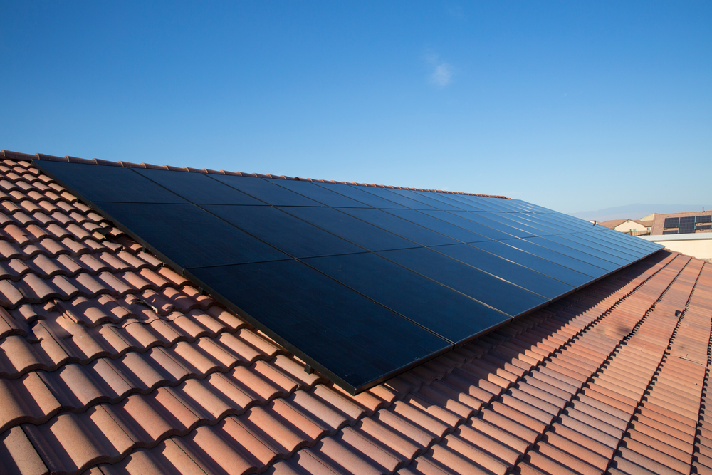 sunpower solar panels on a terracotta roof