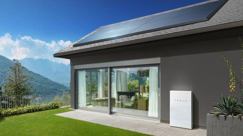 tesla powerwall battery system outside a home